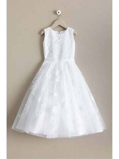 Girls Cutwork Floral Lace Dress  whi alt2