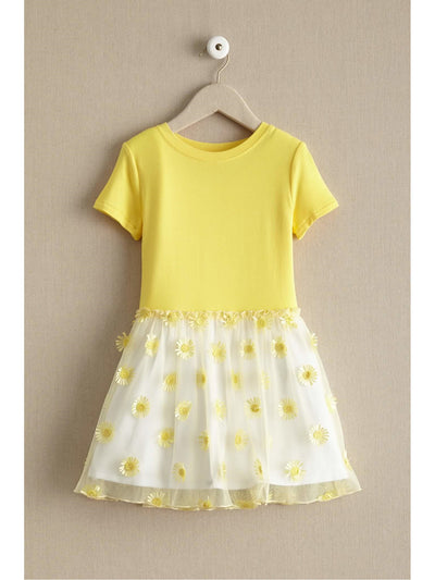 Girls Daisy Love Dress  yel 1