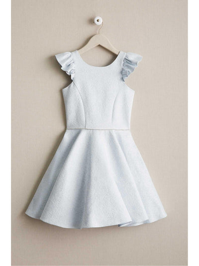 Girls David Charles Metallic Blue Ruffle Dress