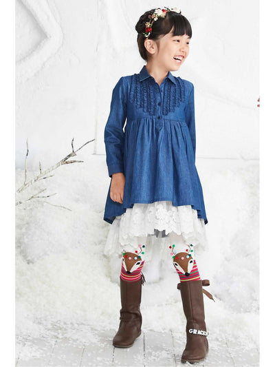 Girls Denim & Lace Dress