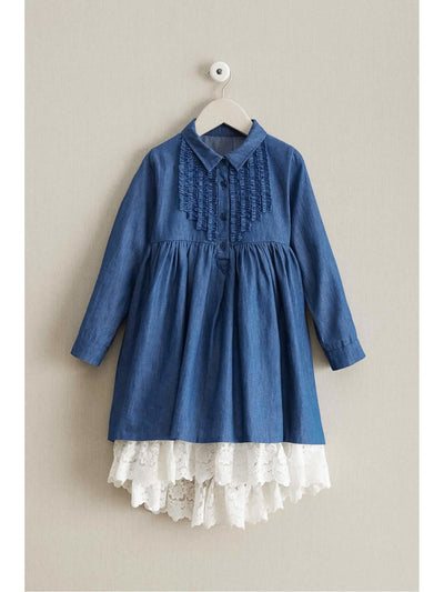 Girls Denim & Lace Dress  den alt1