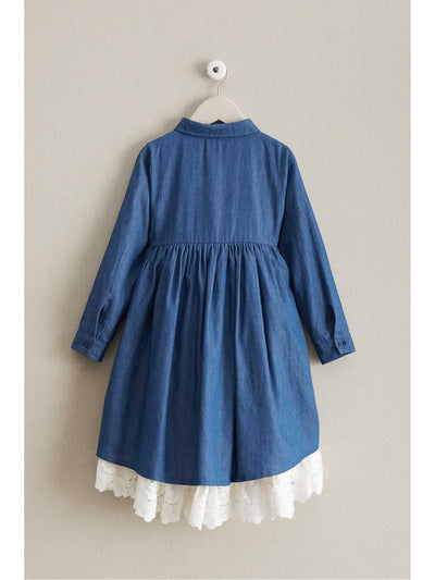 Girls Denim & Lace Dress  den alt2