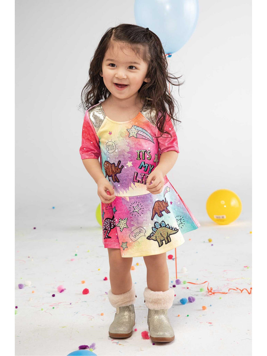Girls Dinosaur Skater Dress