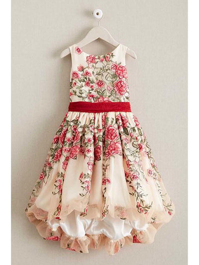 Girls Disney Princess Belle Embroidered Roses Dress
