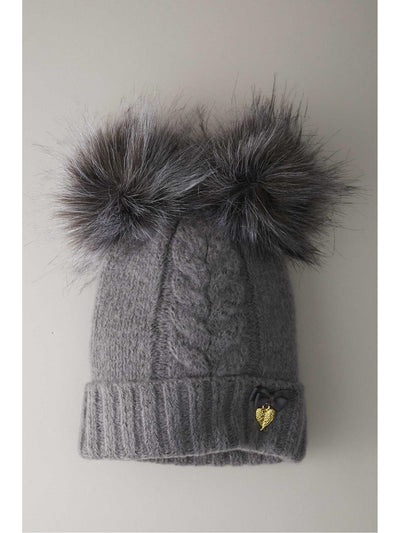 Girls Double Pompom Hat