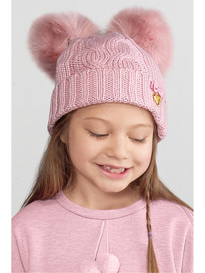 Girls Double Pompom Hat  gra alt1
