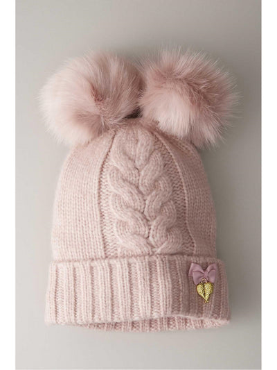Girls Double Pompom Hat  ros 1