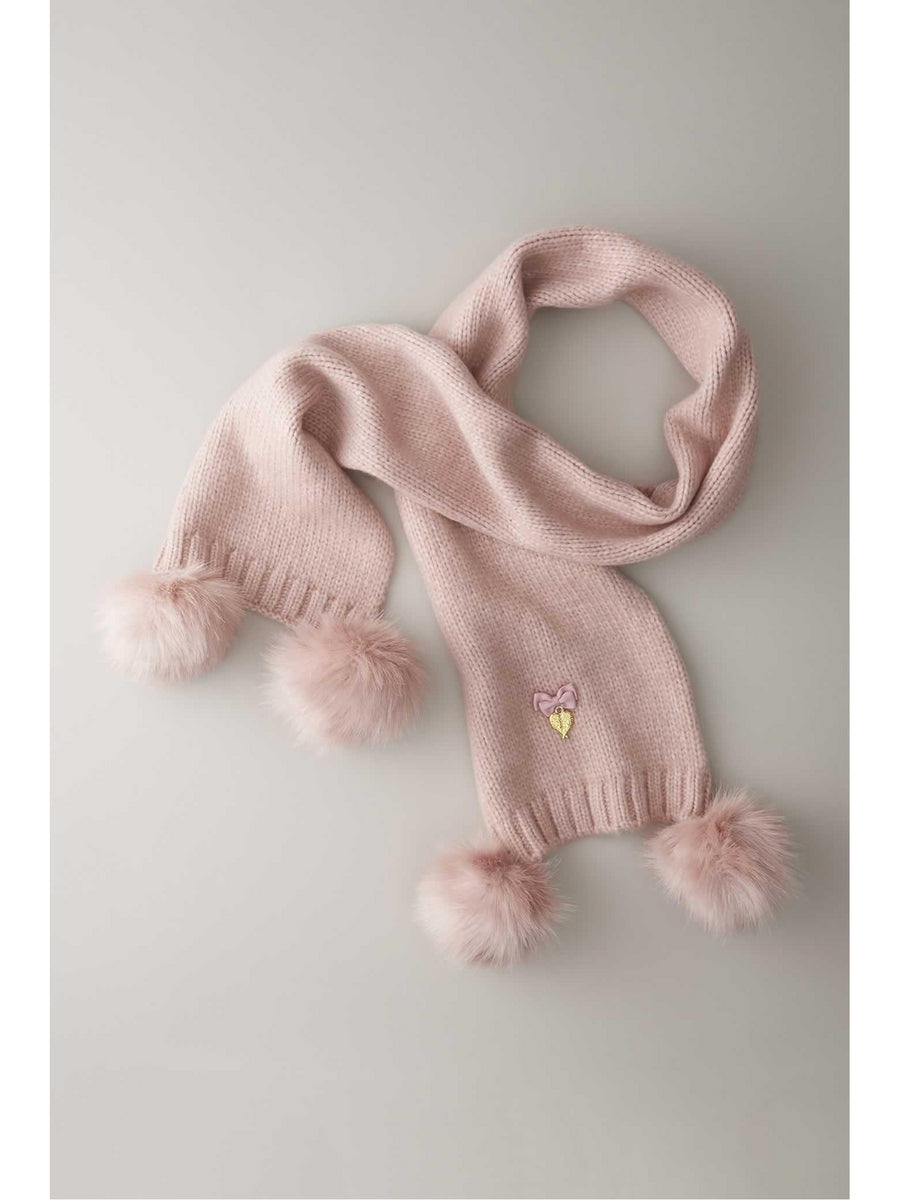 Girls Double Pompom Scarf
