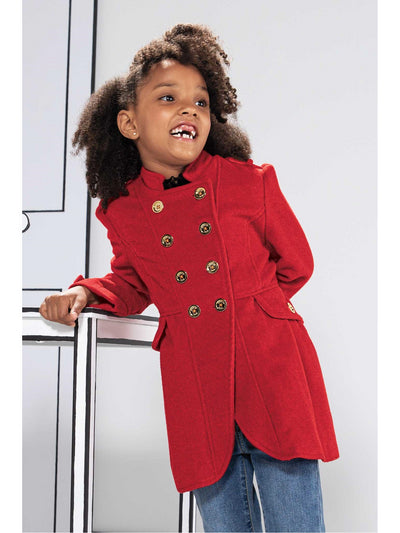 Girls Double-Breasted Military Coat  red alt1