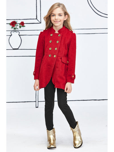 Girls Double-Breasted Military Coat  red alt2