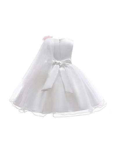Girls Draped-Front Dress  white alt2