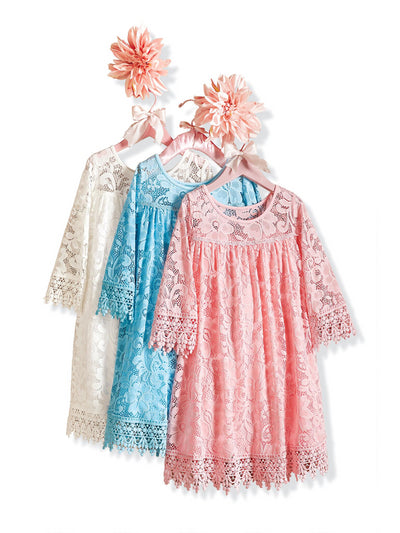 Girls Dreamy Lace Dress  aqu alt2