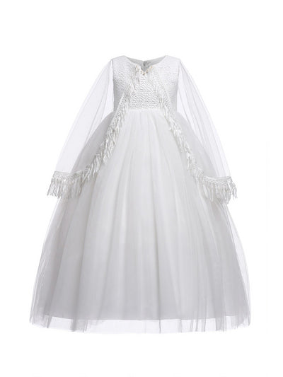 Girls Dress with Cape  white alt1