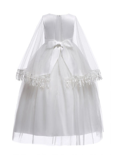 Girls Dress with Cape  white alt2