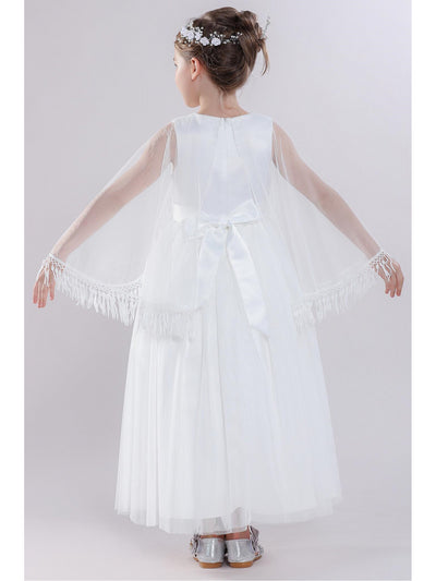 Girls Dress with Cape  white alt3