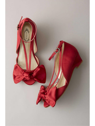 Girls Dressy Satin Wedges  red 1