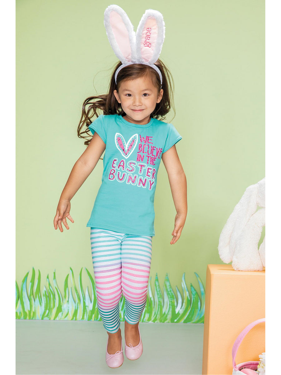 Girls Easter Stripe Leggings