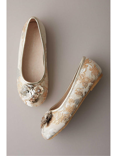 Girls Embellished Brocade Flats