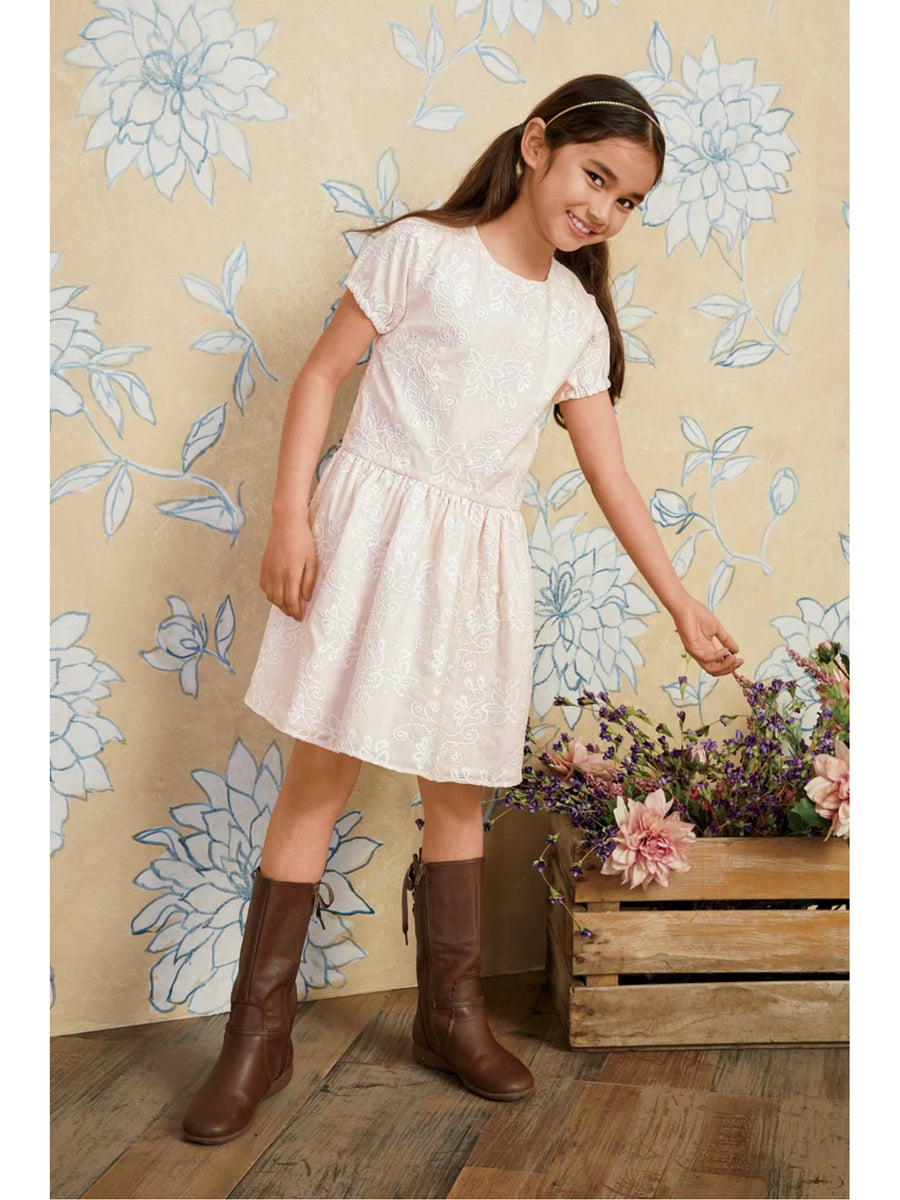 Girls Embroidered Blush Dress