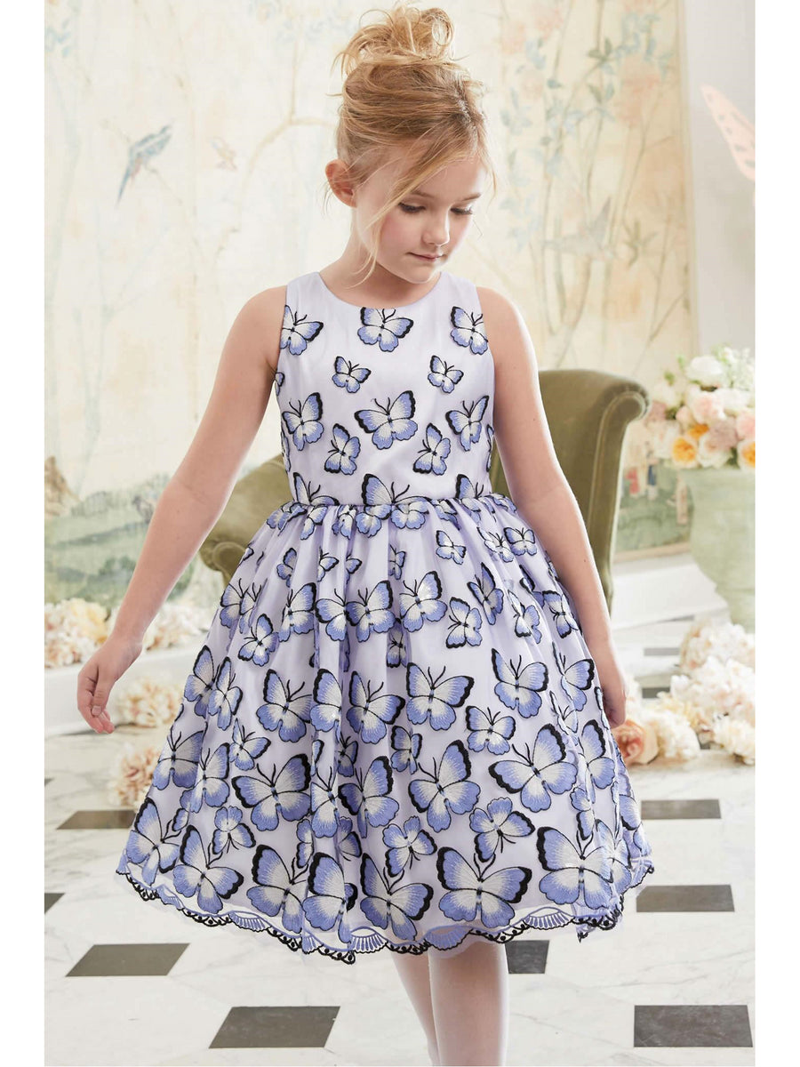 Girls Embroidered Butterflies Dress