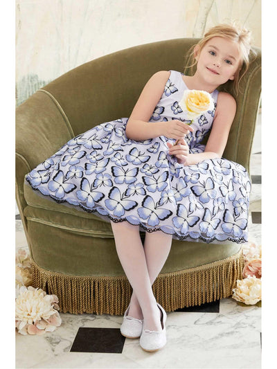 Girls Embroidered Butterflies Dress  lav alt3