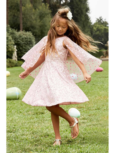 Girls Embroidered Capelet Dress