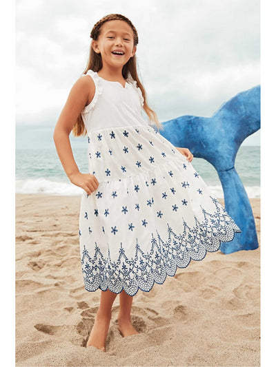 Girls Embroidered Eyelet Dress