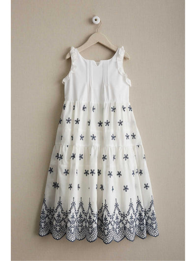 Girls Embroidered Eyelet Dress  whi alt1
