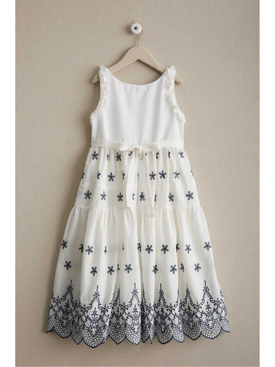 Girls Embroidered Eyelet Dress  whi alt2