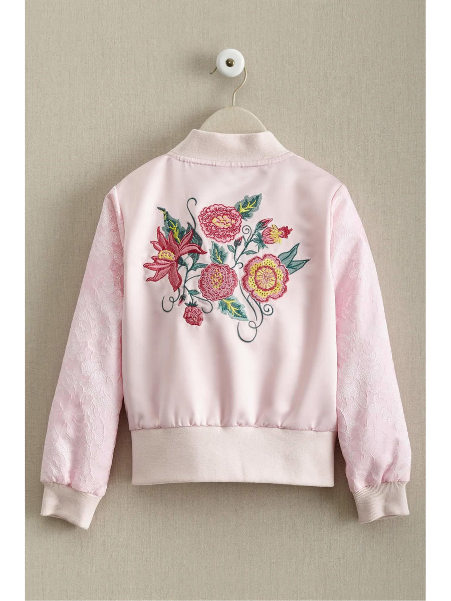 Girls Embroidered Floral Pilot Jacket