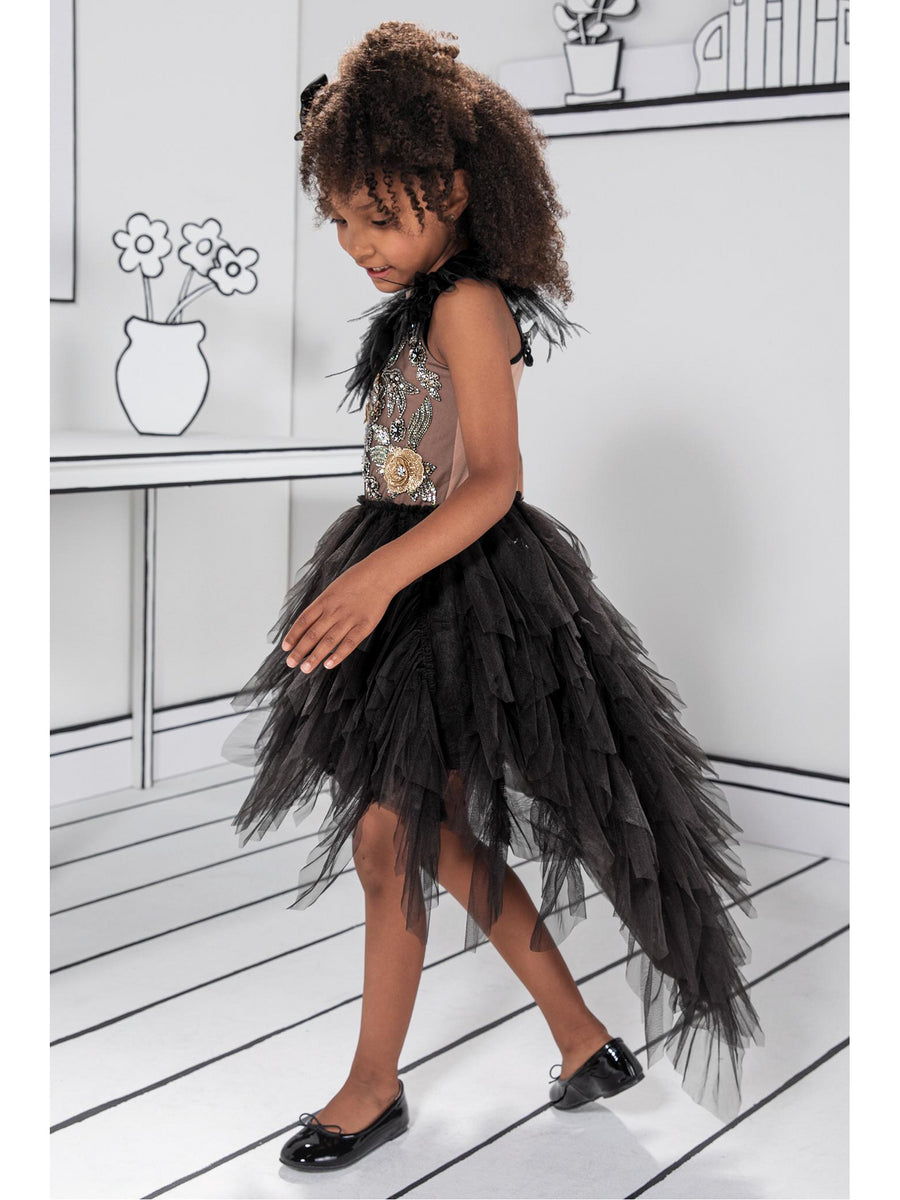 Girls Embroidered Flower High/Low Tutu Dress