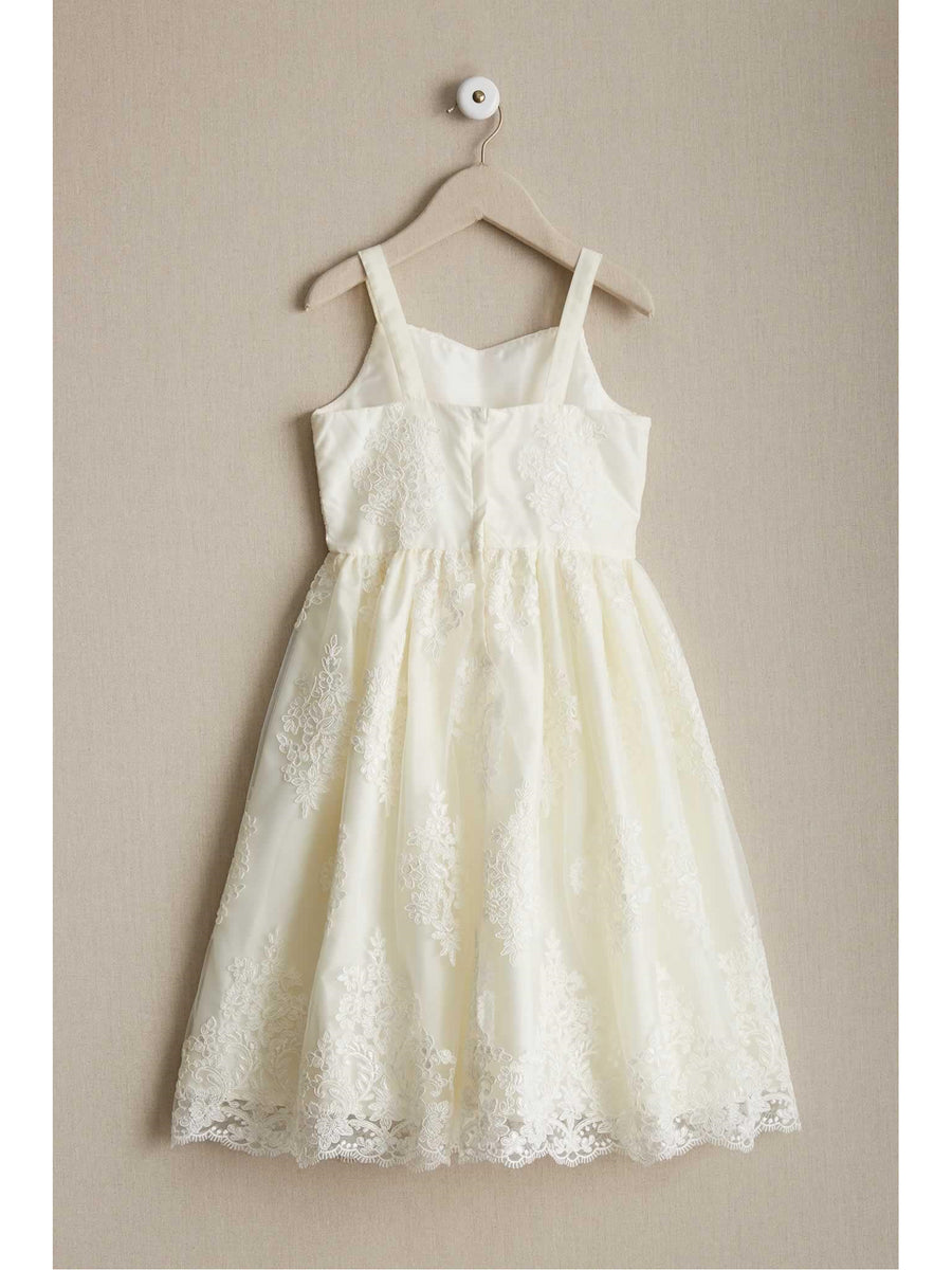 Girls Embroidered Ivory Dress