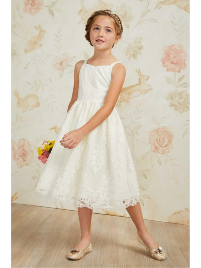 Girls Embroidered Ivory Dress  whi alt1