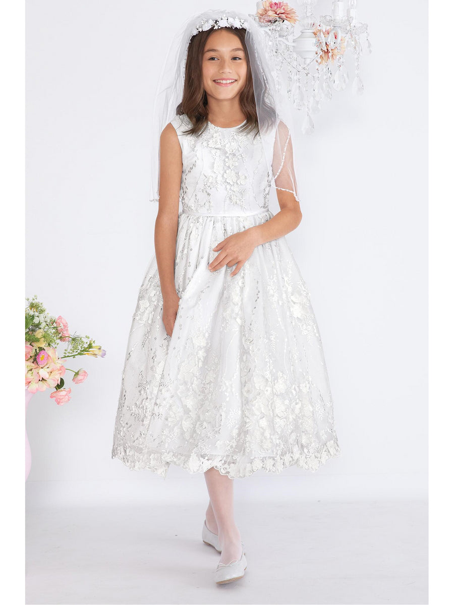 Girls Embroidered Lace in Bloom Dress
