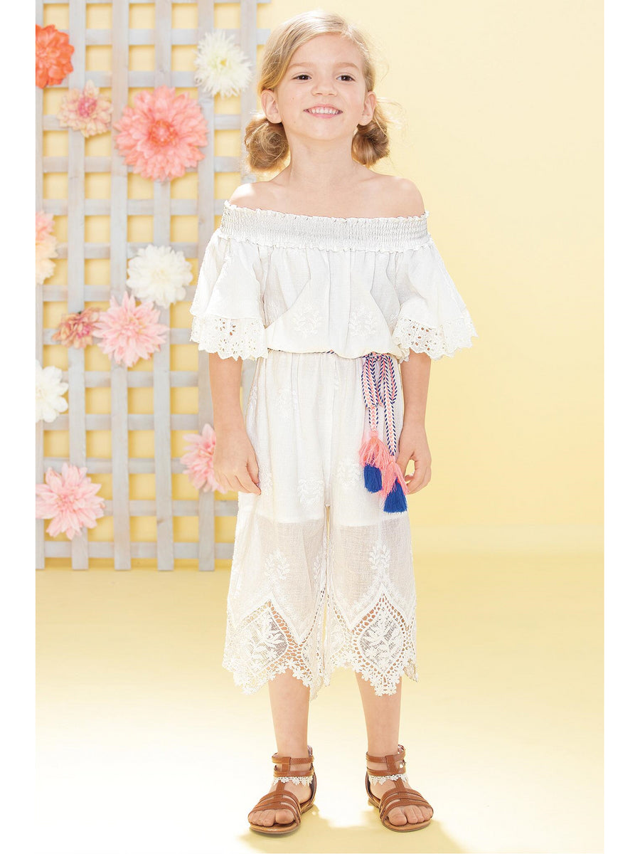 Girls Embroidered Lace Trim Jumpsuit