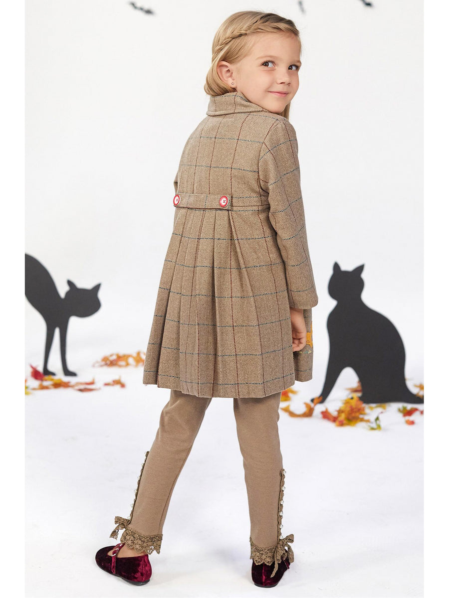 Girls Embroidered Plaid Wool Coat