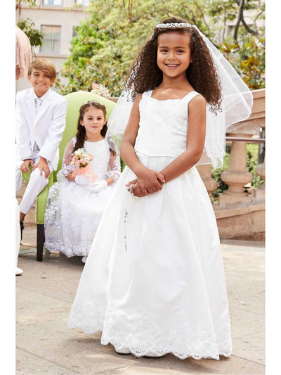 Girls Embroidered Satin Dress