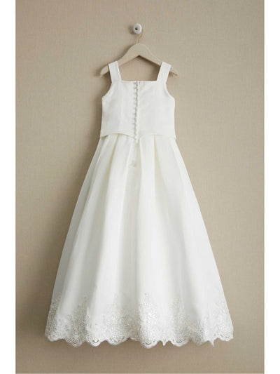 Girls Embroidered Satin Dress  whi alt2