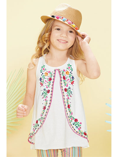 Girls Embroidered Tank Tunic  white alt1