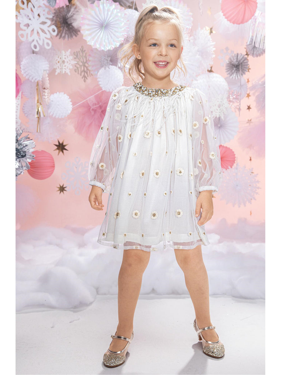 Girls Embroidered Tulle Dress