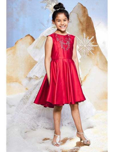 Girls Ethereal Beaded Dress  red alt1