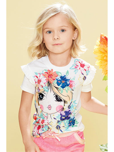 Girls Face in the Flowers Tee  white alt1