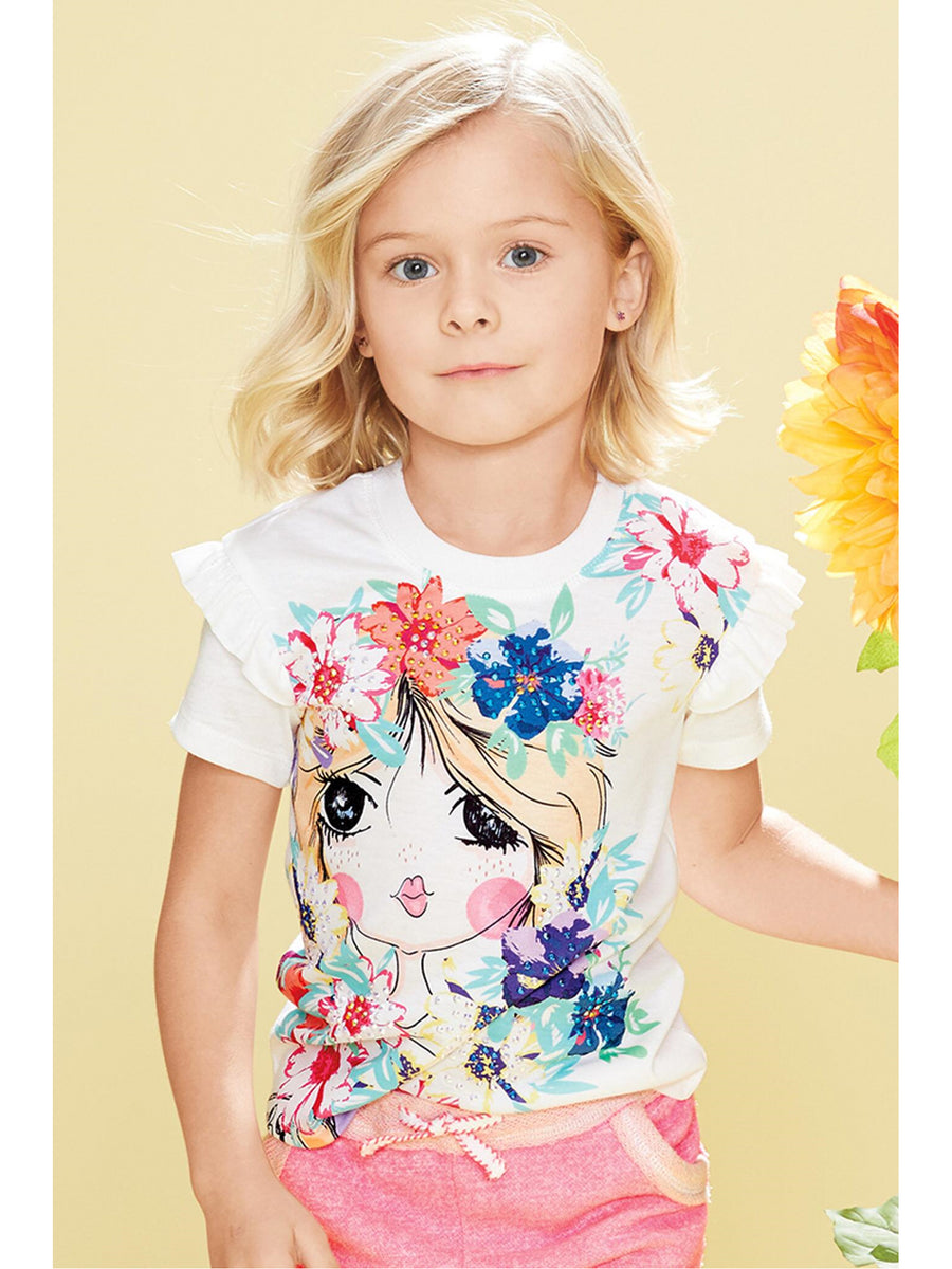 Girls Face in the Flowers Tee