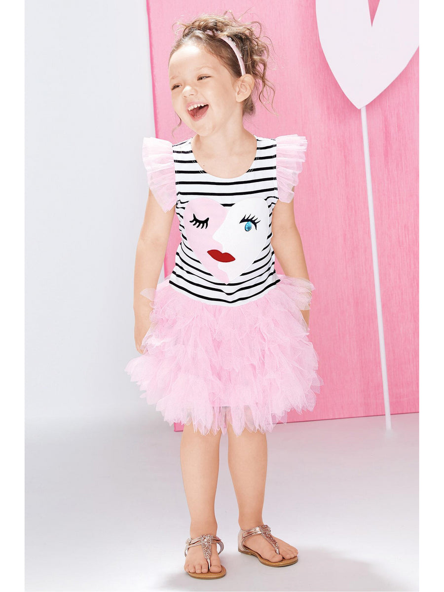 Girls Face Time Stripe Tutu Dress