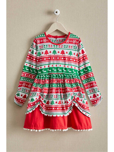 Girls Fair Isle Reindeer Dress