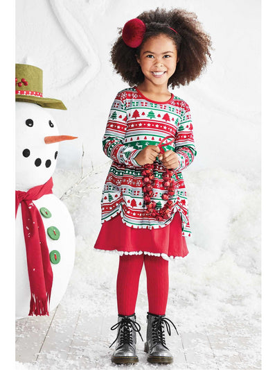 Girls Fair Isle Reindeer Dress  red alt1