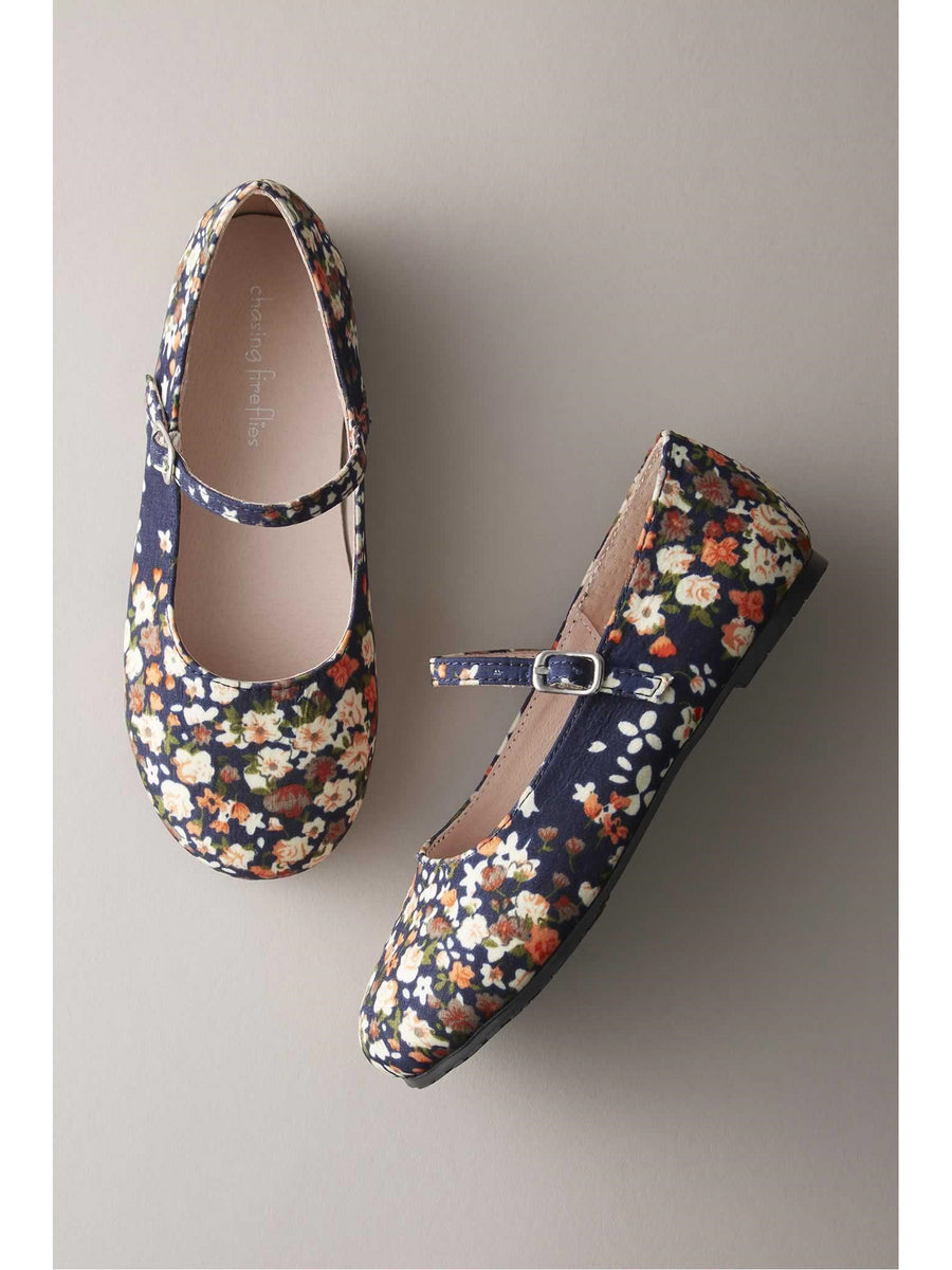 Girls Fall Flower Mary Janes