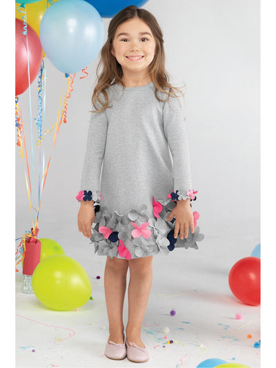 Girls Fancy Flowers Dress  grey alt1