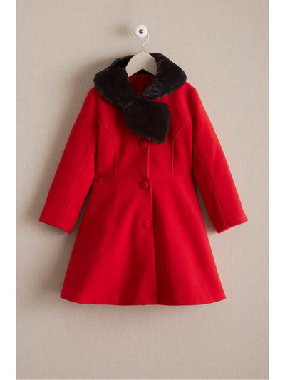 Girls Faux-Fur Bow Collar Coat  red 1