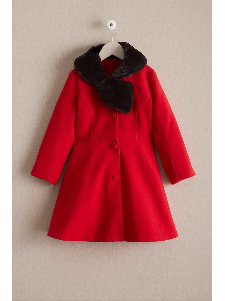 Girls Faux-Fur Bow Collar Coat